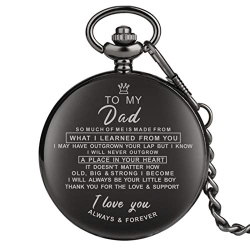 Customized Greeting Words I LOVE YOU Theme Quartz Pocket Chain Watch Souvenir Gifts for Dad Mom Son
