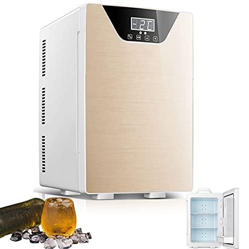 MOZX Mini Nevera para Habitacion 20L, Mini Refrigerador con Función De Refrigeración Y Calefacción, Mini Nevera Portátil para Coche Y Casa, Dormitorio, Oficina,Oro
