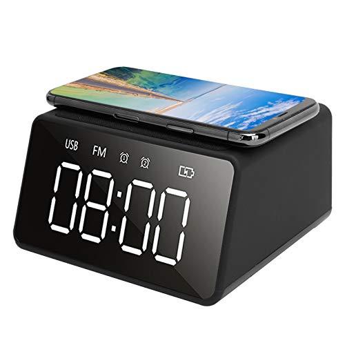 SanZHONGsd Despertador digital, reloj despertador con radio con carga inalámbrica, pantalla LED regulable para dormitorios, oficina en casa, viajes (negro)