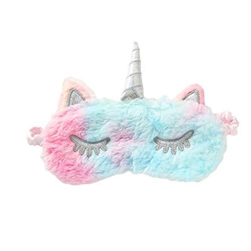 Amosfun Oogmasker Eenhoorn Glitter Hoorn Pluche Slaap masker Kerstmis Leuke Oogtinten (Wit) M Kleurrijk