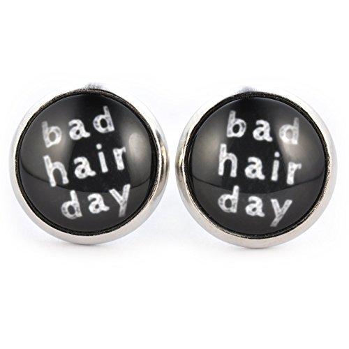 SCHMUCKZUCKER Damen Ohrstecker Spruch Bad Hair Day witzige Modeschmuck Ohrringe silber-farben schwarz 14mm