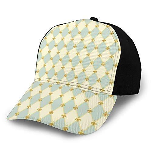 Trucker Caps Baseball Cap verstellbar,Traditional Royal Flower Pattern with Harlequin Rhombuses Pattern, Cap Baseball Snapback Summer