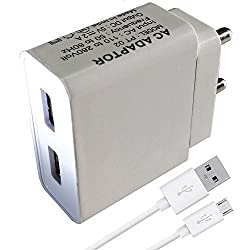 ShopMagics Dual Port Charger Adapter with Micro USB Cable for All Andriod Smartphone