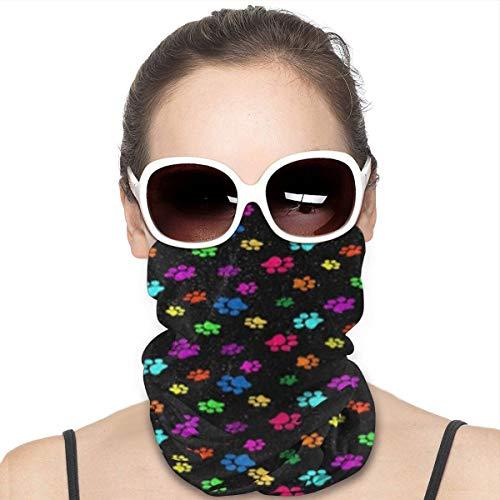 hfdff Bunte Hunde-Pfotenabdruck-Sturmhauben & Halsgamaschen, Kopfbedeckungs-Röhrenschal Ideal für jeden Tag, Piratenparty, Biker