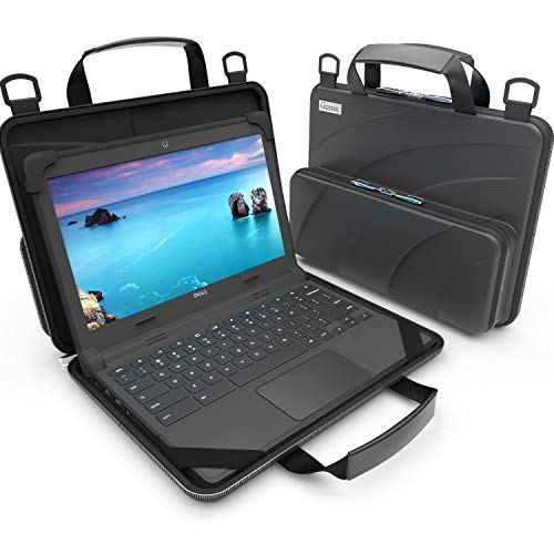 UZBL 11-11.6 inch Work-in Chromebook Laptop Case with Pouch and Shoulder Strap (Black PU)