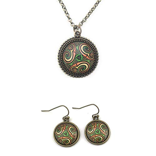 Celtic Knot Triskele Necklace and Earring Set - Handmade