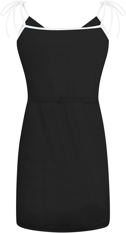ONHUON Dress for Women,Women's Summer V Neck Short Tshirt Dresses Stripe Strap Beach Party Mini Dress with Drawstring