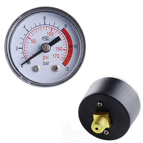 Buwei Manómetro de presión de Fluido hidráulico neumático para compresor de Aire 0-12Bar / 0-170PSI