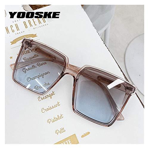 TEYUN YOOSKE Vintage diseñador de la Marca Square Gafas de Sol de Gran tamaño Mujeres Hombres degradados Transparentes Gafas de Sol Gafas UV400 (Color : A)