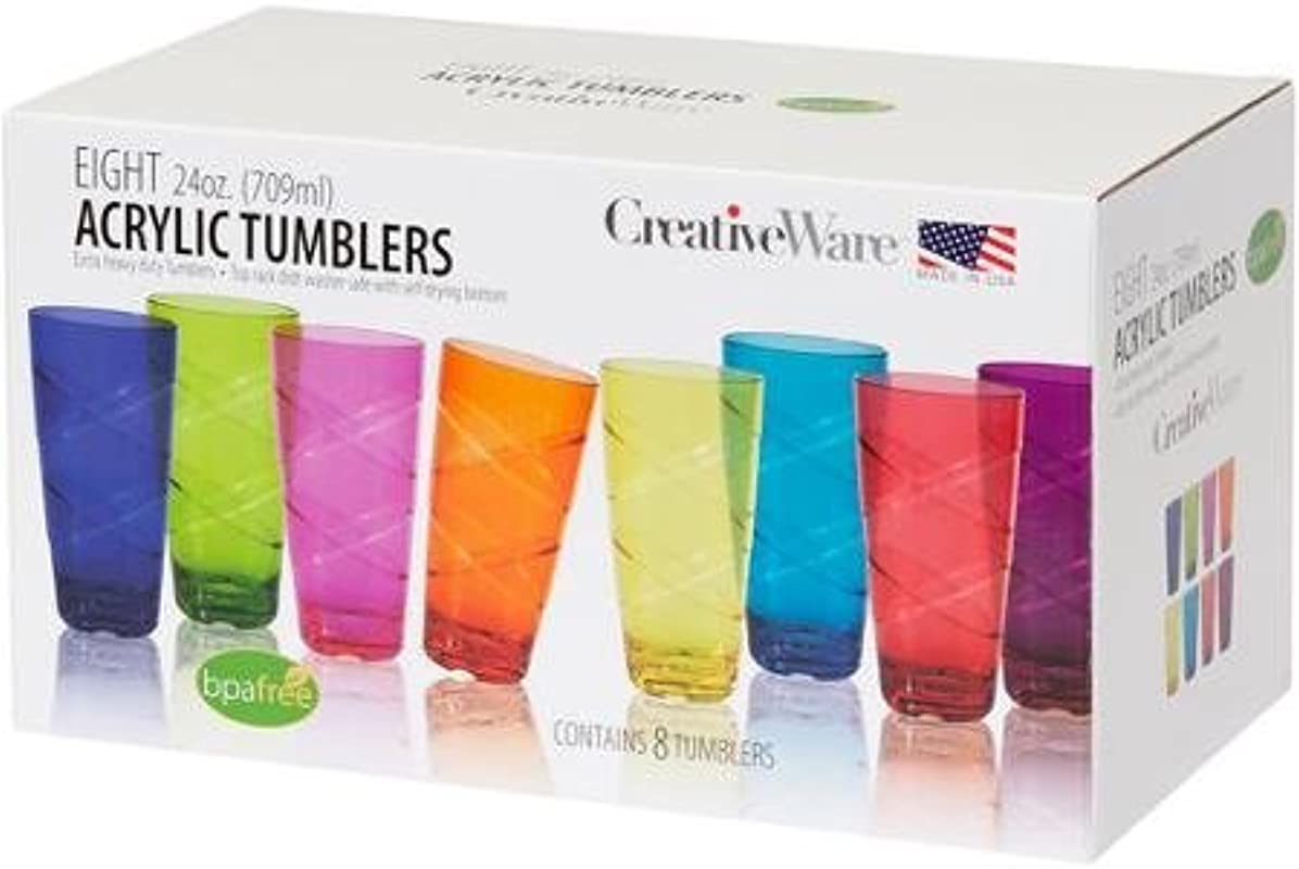 Heavy Duty Set Of 8 24 Ounce Multi Colored Tumbler Set Assorted