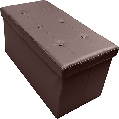 Sorbus Storage Bench Chest – Collapsible/Folding Bench Ottoman with Cover – Perfect Hope Chest, Pouffe Ottoman, Coffee Table, Seat, Foot Rest, and More – Contemporary Faux Leather (Chocolate)