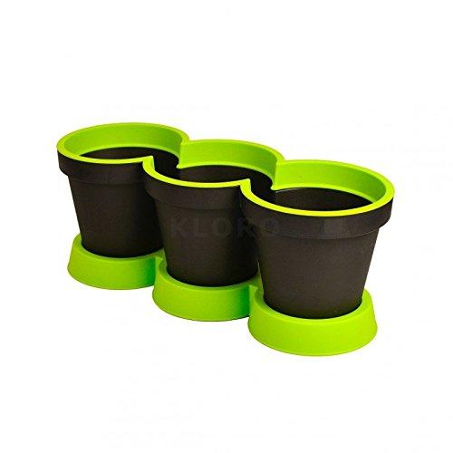 GELI Kräutertopf 3er Kräuter Pflanztopf zweifarbig Kunststoff Blumentopf, Farbe:anthrazit/apfelgrün;Durchmesser/Höhe:ca. 40 cm / ca. 15 cm