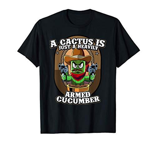 Cactus Gunslinger Cetriolo armato cetriolo Funny Meme Pun Maglietta