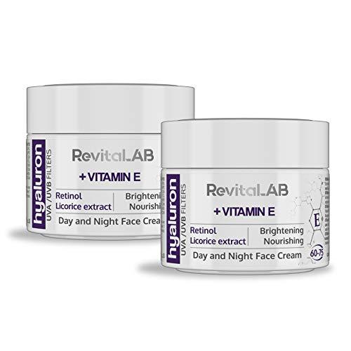 RevitaLAB Anti-Ageing Tages- und Nachtcreme mit Hyaluron, angereichert mit Vitamin A (Retinol) und...