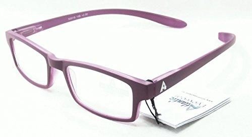 Atlantic Eyewear AE0052 Zwei Ton Lila Lesebrille mit lang Kunststoffbuegel um den Hals Damen und Herren Inklusive softetui (+2.00)