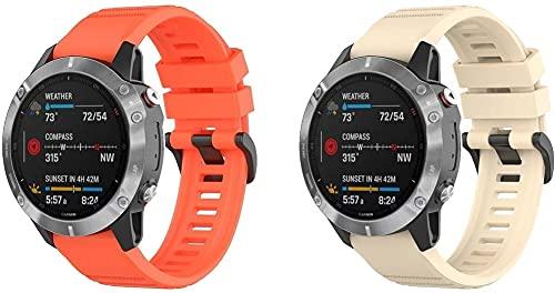 Chainfo Correa de Reloj Recambios Correa Relojes Caucho Compatible con Garmin Fenix 6X Pro/Fenix 6X Sapphire/Fenix 3 / Fenix 5X Plus/5X Sapphire - Silicona Correa Reloj con Hebilla (2-Pack I)