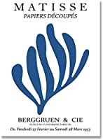 マチスポスター抽象ブルーコーラルアート絵画ミニマリストイラスト壁アートキャンバスプリントヴィンテージポスター家の装飾写真40x60cmフレームなしD33