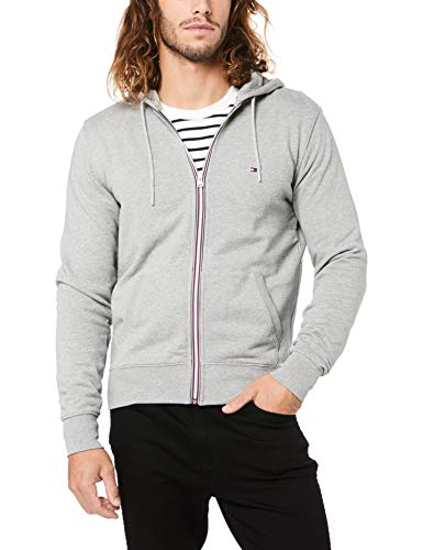 Tommy Hilfiger Herren CORE Cotton Zip Hoodie Strickjacke, Grau (Cloud Htr 501), XX-Large