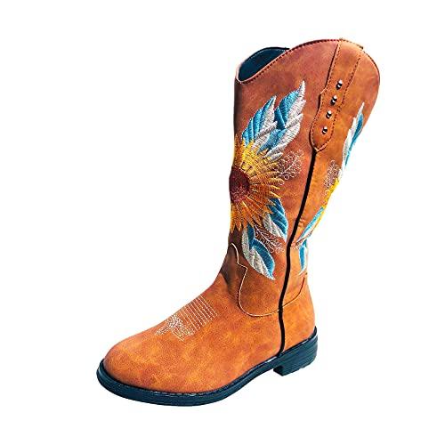 YWLINK Botas Bordadas Vintage Botas Puntiagudas Botas De Vaquero De TacóN Grueso para Mujer Bordado Rodilla Botas De Vaquero Altas Botas De Cuero De Retazos Antideslizantes (Marrón -3, 37)