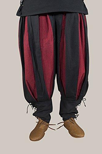 Hortus Landsknechthose zweifarbig – Schwarz Rot XXXL