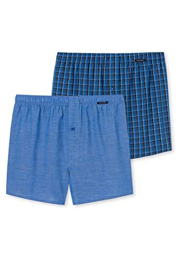 Schiesser Herren Boxershorts 4er Pack - Shorts, Webware, Karo/Streifen, S-2XL (2X 2-Pack) (Blau (819), XL (X-Large) - 4-Pack)