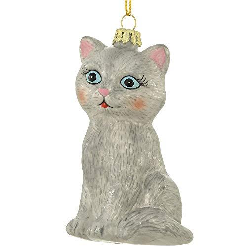 Bronners.com 4.25 Inch Grey Cat Glass Christmas Ornament