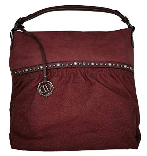 Dudlin Shopper Tasche Nieten vorne Handtasche Shopperbag (wine)