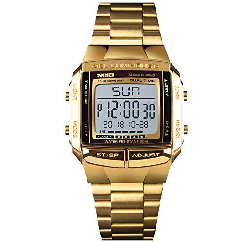 RORIOS Reloj Deportivo para Hombres Multifuncionales Militar Analógico Digital Cuarzo Acero Inoxidable Strap Reloj para Hombre