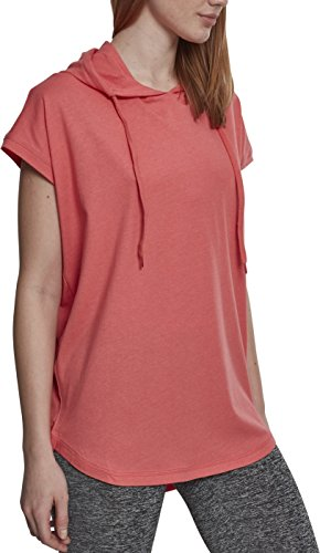 Urban Classics Damen Ladies Sleeveless Jersey Hoody T-Shirt, Coral, M