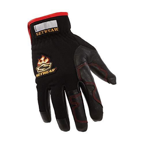 "SetWear Hot Hand, Heat Resistant Leather Gloves, Pair Medium (Size 9) Approximatly 3.5-4"" / 8.89-10.16cm, Black/Black"