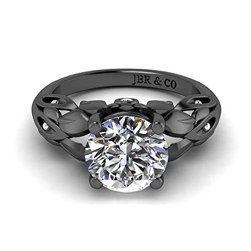 Jbr - Anillo de plata de ley de corte redondo para mujer, anillo de compromiso, aniversario de novia, para mujer, con caja de joyería