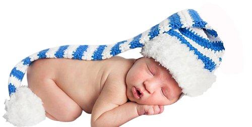 Melondipity Hanukkah Blue & White Stripe Crochet Stocking Baby Hat - Newborn