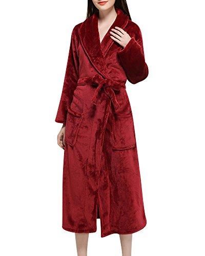 Albornoz Bata de Baño Sauna para Mujeres y Hombres Mangas Largas Kimono Vestidos Robe Vino Rojo XL