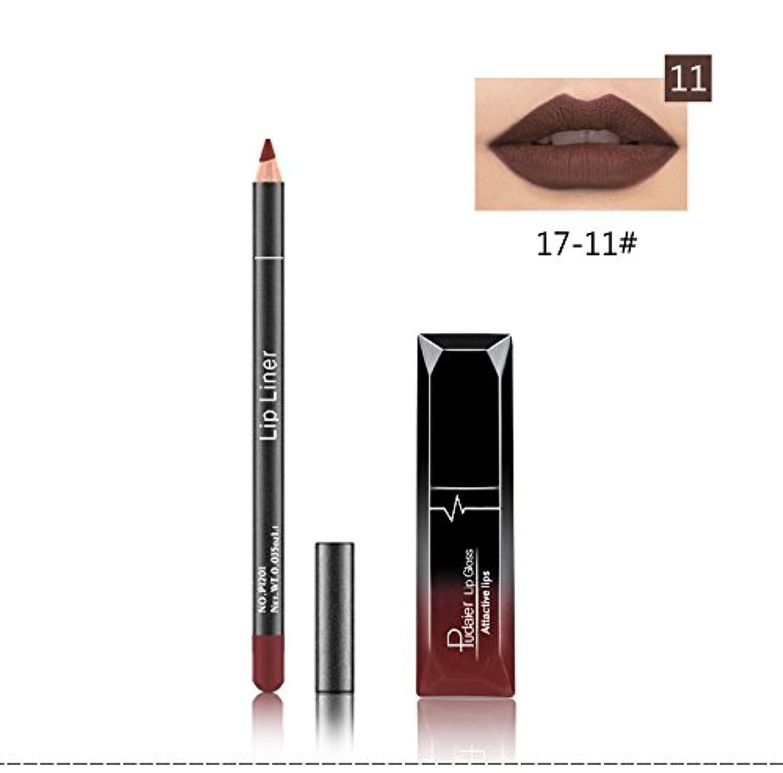 スノーケル最大要塞(11) Pudaier 1pc Matte Liquid Lipstick Cosmetic Lip Kit+ 1 Pc Nude Lip Liner Pencil MakeUp Set Waterproof Long Lasting Lipstick Gfit