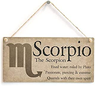 Quote Sign Scorpio The Scorpion Beautiful Spiritual Gift Astrology of The Zodiac Wood Hanging Plaque for Living Room