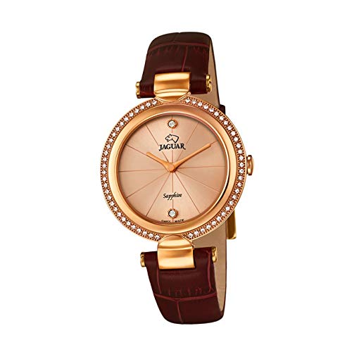 JAGUAR Reloj Modelo J833/1 de la colección Cosmopolitan, Caja de 34,5 mm Rose con Correa de Piel Burdeos para señora