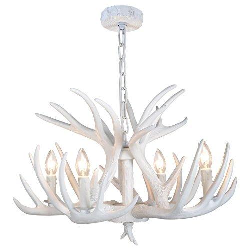 EFFORTINC Résine Lustre en chêne blanc Lustre en chêne Salon Salle à manger Installation facile (4 lumières)
