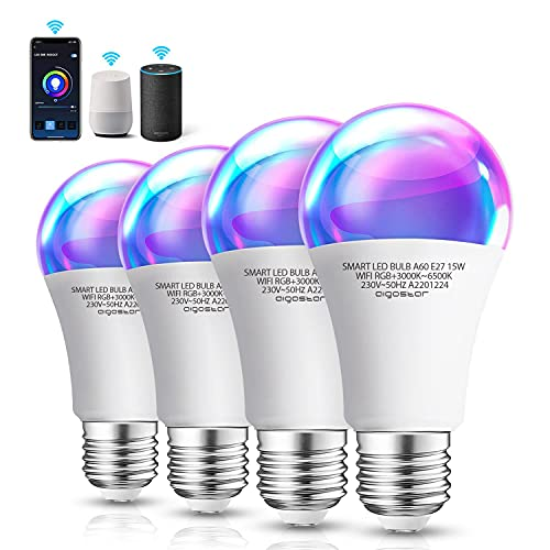 Aigostar 15W Bombilla LED inteligente WiFi A60, 1300LM, E27 casquillo gordo, RGB + CCT. Regulable multicolor+ luz cálida o blanca 3000 a 6500K, Compatible Alexa y Google Home, 4 Pack, energética A+