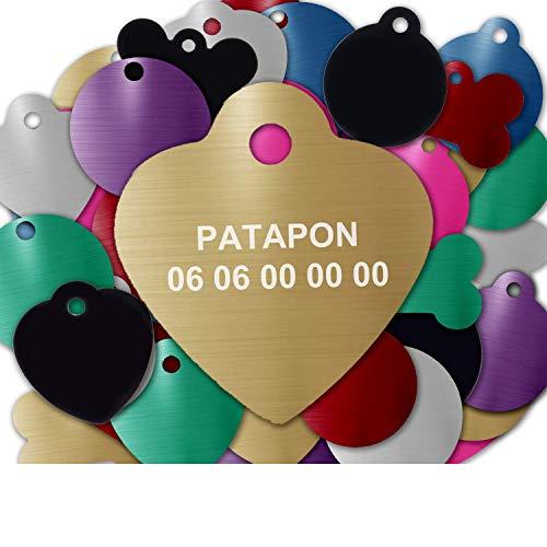 GRAVURE CONCEPT Médaille pour Chien Et Chat À Personnaliser – Médaillon Gravé 25 mm - 1 à 2 Lignes – 8 Couleurs Disponibles (Or, Coeur)