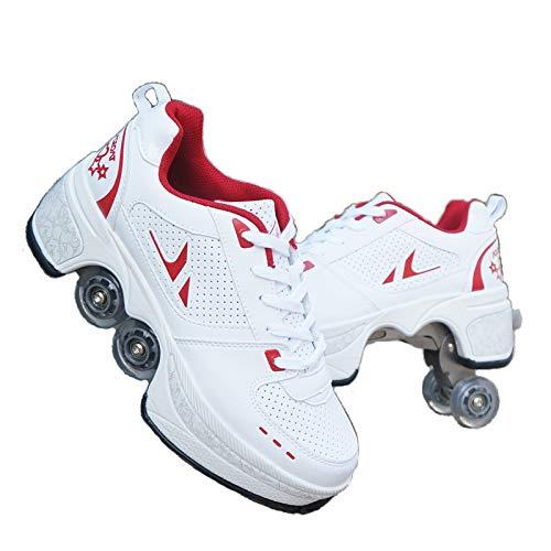 duvetset Roller Skates Damen Inline Skates Mädchen,Roller Skates Verstellbar Sneakers 2-in-1 Mehrzweck-Schuhe Unisexe Skates,Rotes-EU37