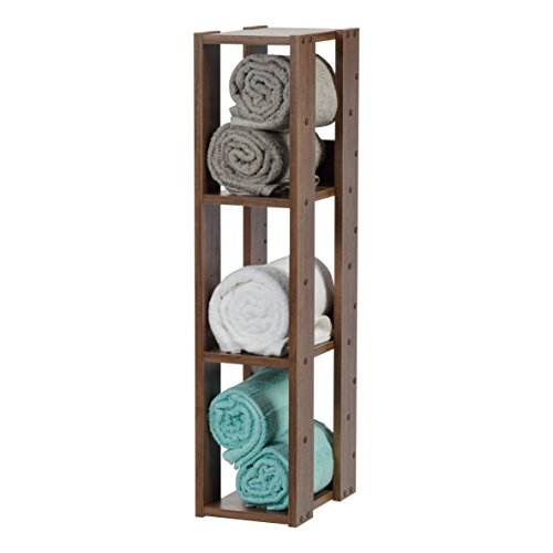 Marca Amazon - Iris Ohyama OWR-200 - Estante abierto de madera con 3 compartimentos y armario, 3 estantes en madera, marrón roble, 20 cm