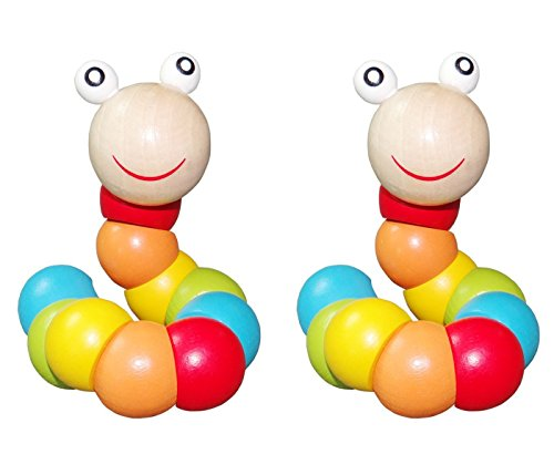 Berry President Holzspielzeug Das entzückende Caterpillar-Puppenspielzeug des Babys mit Heller Farbe und Sortenmodellierung, gut für 0-1 Jahre Olds Baby & Kinder Jungen und Mädchen