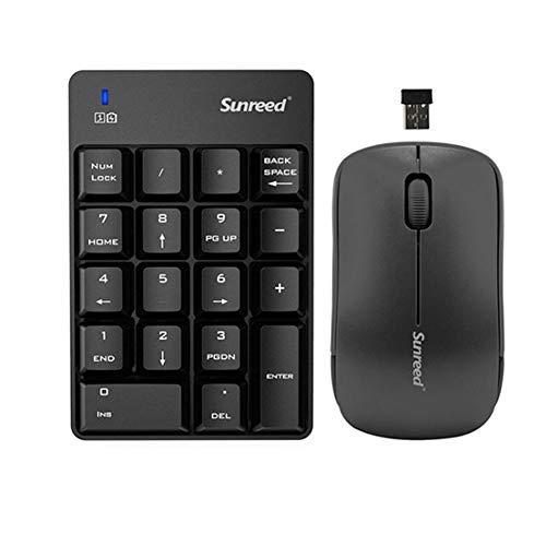 LXH-SH Keyboard Spielen Numeric Keypad & Mouse Combo, Sunreed 2.4G Wireless Mini USB Nummernblock Tastatur und Maus for Laptop-Desktop-Notebook (Color : Black)