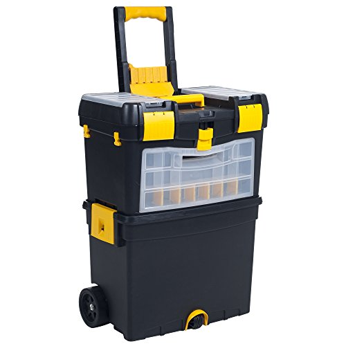 Rolling Tool Box with Wheels, Foldable Comfort Handle, and Removable...