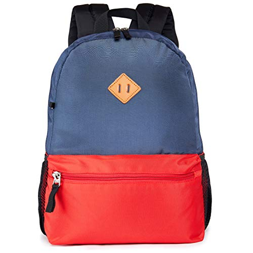 HawLander Kids Backpack for Boys School Bags for Toddler with Chest Buckle 19 Liters (Navy Red 02)