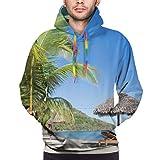 Moshow Sudadera con Capucha para Hombre Tropical Beach Landscape con Tumbona y sombrilla Sudadera M