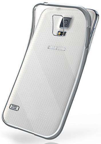 MoEx Cover in Silicone Trasparente Compatibile con Samsung Galaxy S5 / S5 Neo   Bordo Metallizzato, Argento
