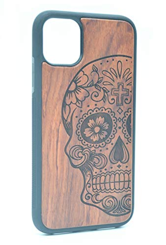 Shogpon Funda de Madera para iPhone 11 Pro MAX 6.5 Pulgadas, Hecha a Mano de Madera Carcasa Cover Protectora Patrón Esculpido Diseño Antideslizante a Prueba de Golpes TPU - Cráneo Palisandro