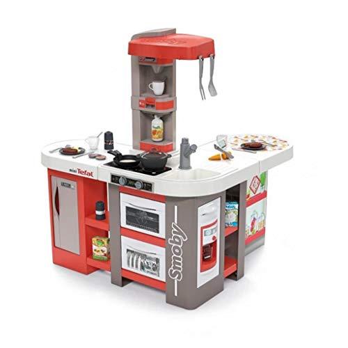 Smoby 311046 Tefal Studio Bubble XXL Küche in extravaganter Winkelform, mit Sound, für Kinder ab 3 Jahren, mit viel Zubehör, rot