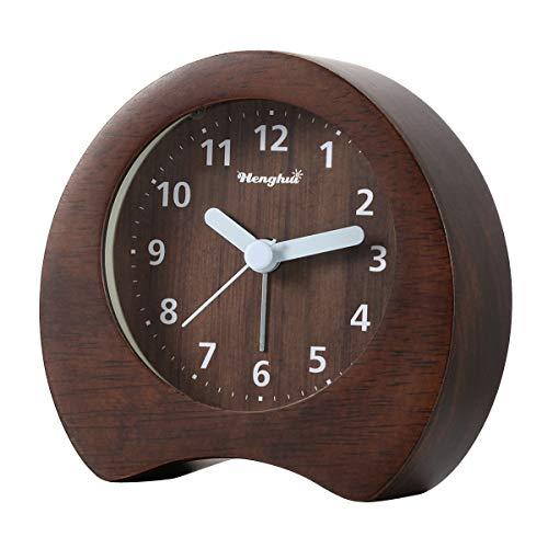 DTKID Analoger Wecker Holz Wecker Nicht Tickt Leise Nachttisch Wecker mit Licht Alarm Massivholz Schick Wecker